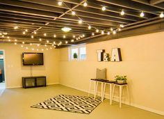 basement ceiling ideas on a budget. String Lights On The Ceiling For Extra Basement Lighting What  Couldn T Use Light 20 Budget Friendly But Super Cool Basement Ideas 11 Doable Ways To DIY A Ceiling Ceilings