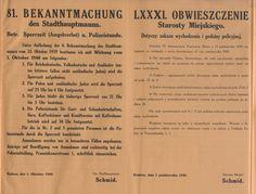 Godzina policyjna- obwieszczenie starosty o zakazie wychodzenia i godzinie policyjnej. Kraków 1 pazdziernika 1940 r.