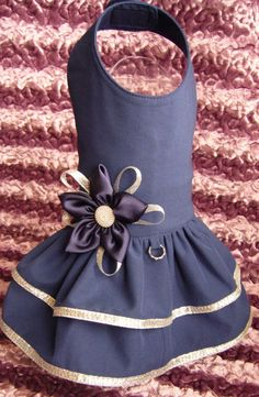dark blue dog dress by PetsSecretShop on Etsy