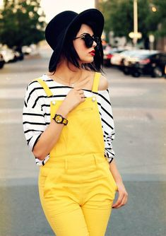 Yellow overalls, off the shoulder tee, sunglasses and red lips... love this!