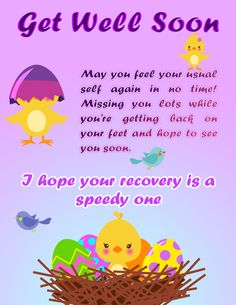 Purple Personalised Get Well Soon Card Images