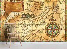 3D Sea Map Wall Mural Wallpaper 09 – Jessartdecoration Compass Wallpaper, World Map Wallpaper, Kids Wallpaper, Peel And Stick Wallpaper, Wallpaper Ideas, Map Compass, Pirate Maps, Kids World Map, Textured Walls