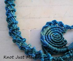 Spirals knotted in micromacrame ocean shades