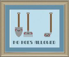 No hoes allowed funny crossstitch pattern by nerdylittlestitcher, $3.00