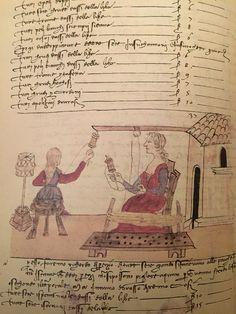 """Trattato dell'arte della seta cap. 45 cc. 31v-32r fig. 37 """"Pregi si danno alle maestre dell'incannare e dello addoppiare"""" Medieval Crafts, Firenze, 15th Century, Visual Arts, Spinning, Masters, Weaving, Doodles, Geek Stuff"""