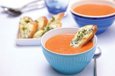 Roasted Red Pepper and Tomato Soup with Castello® Traditional Blue Cheese #soup #bluecheese #recipe