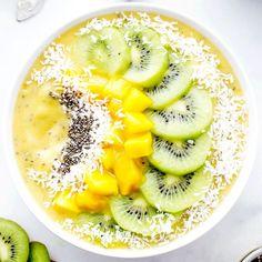 Mango Kiwi Chia Seed Smoothie Bowl (Vegan + GF): an easy, light, refreshing smoothie bowl full of mangoes and topped with kiwis.