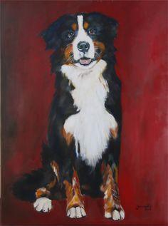 113 portret hond Max acryl op doek 60x90 cm Schilderij in de categorie huisdieren geschilderd door jeannette van der vliet van smartfcous
