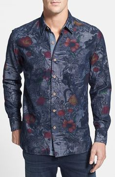 Robert Graham 'Lake Wanaka' Tailored Fit Floral Print Sport Shirt available at #Nordstrom