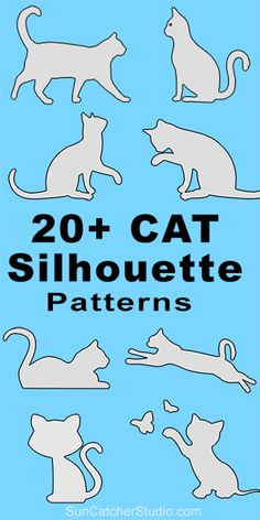 Cat silhouettes patterns, stencils, and templates for coloring, scroll saw, laser cutting. Cat Template, Stencil Templates, Stencils, Templates Free, Stencil Wood, Stencil Art, Silhouette Clip Art, Silhouette Images, Cat Quilt Patterns