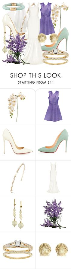 """""""Ariel - Wedding"""" by fabulousgurl ❤ liked on Polyvore featuring Just Cavalli, Christian Louboutin, Oscar de la Renta, Roland Mouret, Effy Jewelry, Nearly Natural, wedding, disneybound and littlemermaid"""