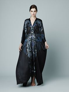 Meng AW14 luxury loungewear - Zodiac print silk satin kaftan- blue