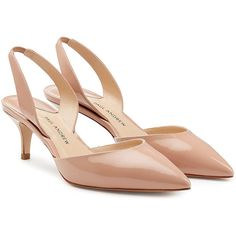 Paul Andrew Patent Leather Kitten Heels featuring polyvore, women's fashion, shoes, pumps, heels, beige, magenta, strappy pumps, strap pumps, kitten heel shoes, magenta pumps and low heel shoes