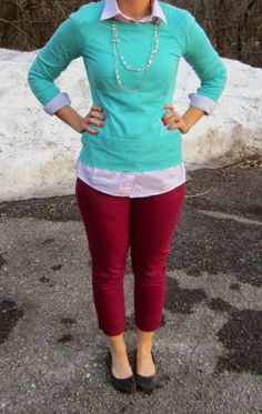 aqua sweater, pink shirt, burgundy ankle pants