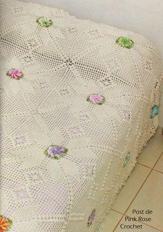 Colcha Squares c Flor de Croche - barbante