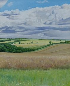 'Sweeping Fields' - Oil on board by Hamish Baird. 20.5cm x 25.5cm. £120