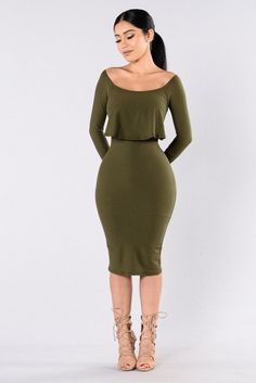 - Available in Wine/Burgundy and Olive - Off the Shoulder Dress - 3/4 Sleeves - Ruffle Top - Fitted - Lined - Knee Length - Made in USA - 96% Polyester 4% Spandex