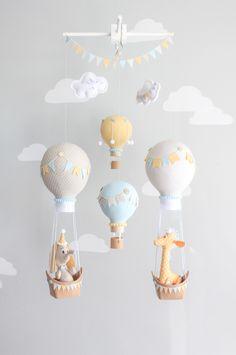 Hot Air Balloon Baby Mobile, Giraffe and Elephant Nursery Decor, Travel Theme Nursery, Orange, Aqua, Gray-Griege Nursery, i167 by sunshineandvodka on Etsy https://www.etsy.com/au/listing/276372974/hot-air-balloon-baby-mobile-giraffe-and