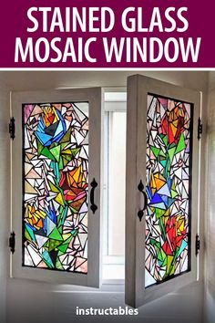 bryans workshop used scrap glass pieces and grout on a custom built window to make a stained glass mosaic. #Instructables #workshop #woodworking #home #decor