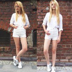 Zuzanna Zacharjasz - Reserved, Tally Weijl, Adidas Superstar - Total white look / Zuzu Here