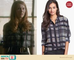 Abby's grey plaid shirt on Scandal.  Outfit Details: http://wornontv.net/30092/ #Scandal
