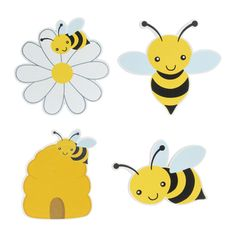 Bumble Bee Painted Wood Shapes Bee Painting, Painting On Wood, Bee Rocks, Bee Drawing, Bee Party, Cute Bee, Bee Theme, Bumble Bee Crafts, Bumble Bee Clipart