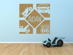 Personalized transportation vinyl wall by defineyourspacevinyl, $28.00