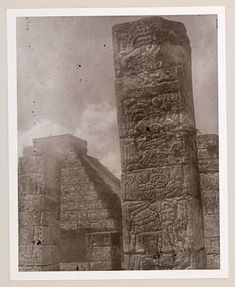 This photograph is from the album, ''Maya-Toltec Temples and Carvings, which documents the 1938 trip to Mexico made by Octavio Medellin and his fam. Maya, Archaeological Site, Mexico Travel, Columns, Art Google, Temples, Warriors, Terrace, Photograph