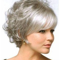 Grey Curly Hair, Grey Wig, Short Brown Hair, Short Straight Hair, Short Hair Cuts, Curly Hair Styles, Natural Hair Styles, Ash Grey, Wavy Hair