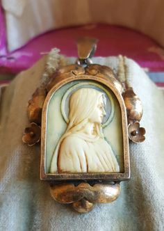 Vintage Spanish Art Deco Cameo Blessed Mother Mary Pendant Virgin Mary Sorrowful  M.E.  C.N. May, 26 1949 18K Gold Plated Silver by PinyolBoiVintage on Etsy