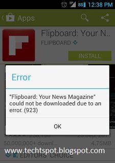 Techtspot - Tricks & Tutorials: Fix Google Play Store Error 923
