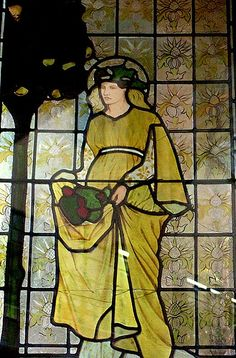"""Birmingham Museum as part of stained glass """"The Four Seasons: Autumn"""" and designed by William Morris 1873."""