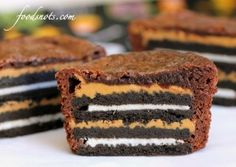 Oreo and peanut butter brownies... I made these for work, but I used double stuffed oreo's, not the greatest when you're stacking two high, so I now put a little brownie mix in the bottom, and then just one oreo... still double stuffed :0) also good without peanut butter