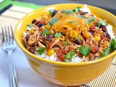 slow-cooker taco chicken bowls - rice is made on it's own - this freezes well after cooking so great for leftovers