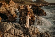 """Romantic Engagement on the Big Sur Coast! Gorgeous Big Sur, California one of the most romantic places to say """"Yes"""", rocky shorelines, sea breeze and beautiful views to backdrop your special memories. Flora Gibson Photography Big Sur California wedding and elopement photographer Big Sur California, California Wedding, Beach Engagement, Engagement Photos, Most Romantic Places, Engagement Inspiration, Breeze, Backdrops, Flora"""