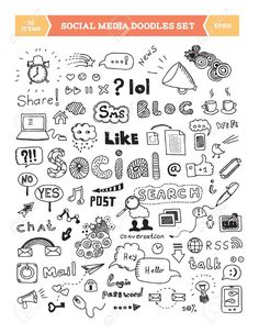 Dessinés à la main illustration vectorielle des médias sociaux griffonnages éléments isolés sur fond blanc