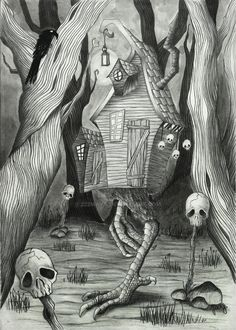 Baba Yaga's hut by on DeviantArt Pictures To Draw, Print Pictures, Baba Yaga House, Gothic Tattoo, Supernatural Beings, Home Tattoo, Southern Gothic, Fantasy Artwork, Dark Art