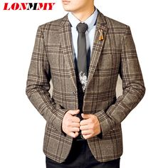 LONMMY 2016 Men blazers masculino mens suit mens blazer jacket Square plaid Wool blazer men Slim man coats Fashion Autumn 2XL