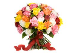 """One of our personal favorites; a bouquet filled with red, white, yellow, pink, orange roses. Make any special occasion """"Rosissimo"""" with this lovely bouquet."""
