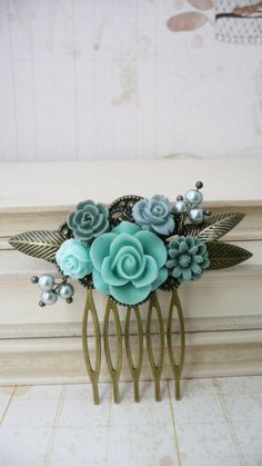 Turquoise and grey resin flower and pearl hair by VerdigrisGifts, $12.80