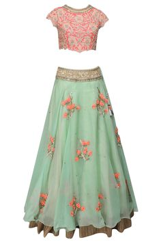 "Sea green ""Glittering Romance"" 3D floral embroidered lehenga and peach blouse set available only at Pernia's Pop Up Shop."