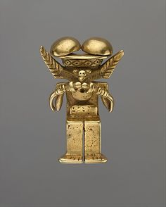 Animal-Headed Figure Pendant    Date:      1st–7th century  Geography:      Colombia  Culture:      Calima (Yotoco)  Medium:      Gold  Dimensions:      H. 2 1/2 in. (6.35 cm)  Classification:      Metal-Ornaments