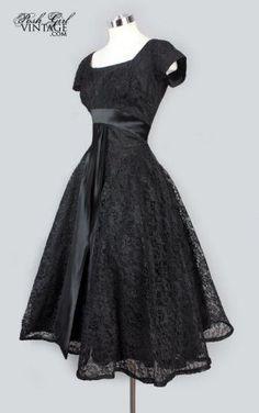 Black Lace Tea Length Evening Party Dress (the real little black dress) Dresses Elegant, 50s Dresses, Pretty Dresses, Vintage Dresses, Beautiful Dresses, Evening Dresses, Vintage Outfits, 1950s Party Dresses, 1950s Fashion Dresses