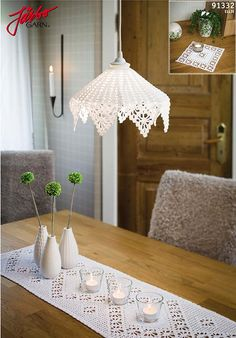 Classic crochet lampshade, table runner and small cloth.