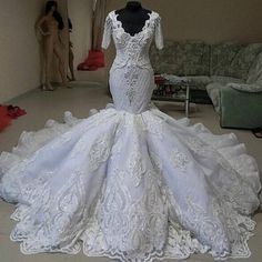 Luxury Couture Mermaid Cathedral Train Beaded Wedding Dress
