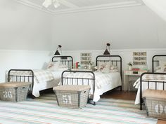 Wired baskets stand in for luggage racks, and made-in-Austin sconces allow her guests to read without disturbing their roommates.