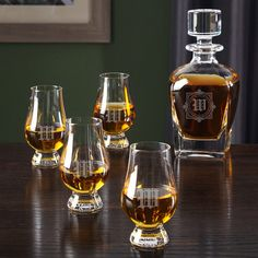 Winchester Custom Glencairn Glasses and Draper Decanter (180 NZD) ❤ liked on Polyvore featuring home, kitchen & dining, crystal scotch decanter, crystal decanter, liquor decanter, engraved scotch decanter and whiskey decanter