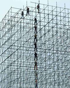 Steel scaffolding workers