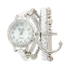 Women's #Fashion #Jewelry:  White and Silver Braided Anchor Wrap Watch with Mother of Pearl Face:  Watches