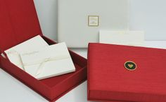Someday Designs' custom silken stationery boxes hold gold foiled folded notes and thank-yous; it won Best New Product in the luxury category at #NSS2014.
